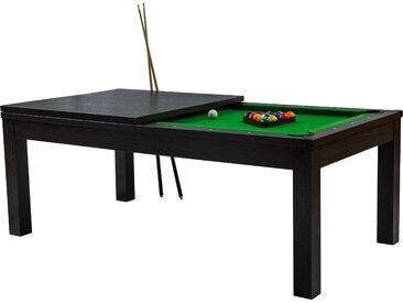 Table de Billard rectangulaire convertible bois foncé tapis vert 8 à 10 personnes
