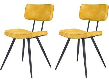 Chaise rembourrée jaune en cuir synthétique (lot de 2) - Texas