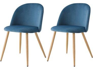 Chaise scandinave en velours bleu et pieds en métal imitation bois (lot de 2) - Cozy