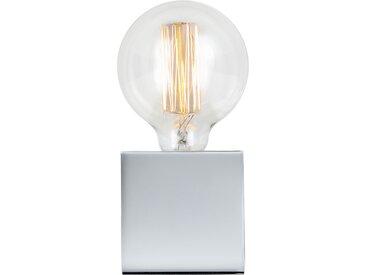 Lampe à poser déco cube en métal finition chrome (ampoule incluse) - Zelda