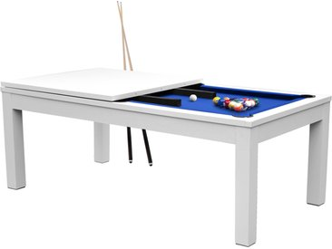 Table de Billard rectangulaire convertible blanche tapis bleu 8 à 10 personnes