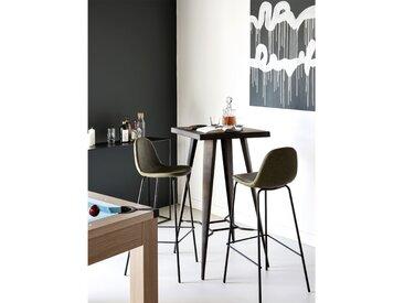 Chaise de bar vintage en cuir synthétique vert kaki et pieds en métal noir 75 cm (lot de 2) - Henrik