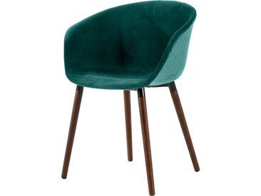 Chaise scandinave en velours vert canard - Dolly