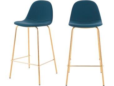 Chaise de bar vintage en cuir synthétique bleu et pieds en métal doré 65 cm (lot de 2) - Henrik