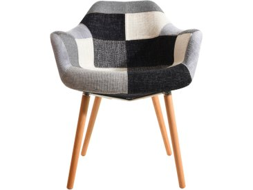 Chaise scandinave patchwork en tissu gris, noir et blanc - Anssen