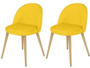 Chaise scandinave en tissu jaune et pieds en métal imitation bois (lot de 2) - Cozy