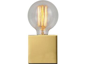 Lampe à poser déco cube en métal finition laiton (ampoule incluse) - Zelda
