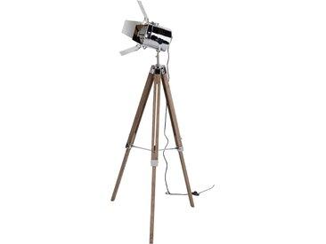 Lampadaire trépied industriel en bois vieilli et métal - Cinéma