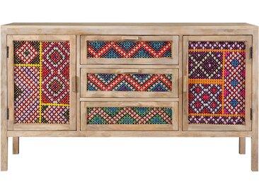 Buffet 3 tiroirs 2 portes en cannage coloré - Massaï