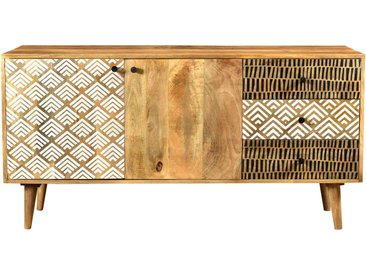 Buffet ethnique en bois 2 portes 3 tiroirs à motifs - Tali