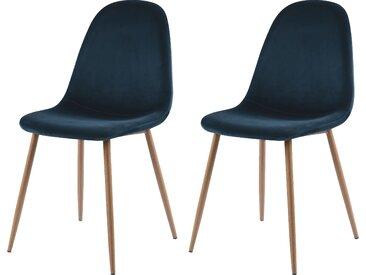 Chaise scandinave en velours bleu foncé (lot de 2) - Fredrik