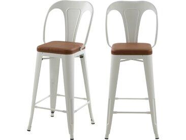 Chaises de bar mi-hauteur indus blanches 66cm et assises en PU marron (lot de 2) - Charly