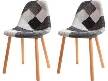 Chaise scandinave patchwork en tissu gris, noir et blanc - Arctik