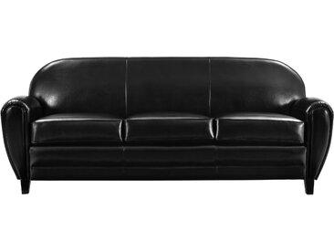 Canapé 3 places en croûte de cuir noir - Club