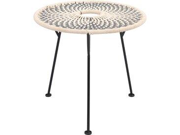 Table d'appoint ronde tressée en coton gris/écru et pieds en métal noir - Agonda