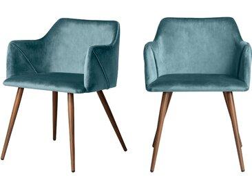 Chaise avec accoudoirs en velours bleu (lot de 2) - Daisy