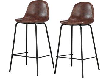 Chaise de bar vintage en cuir synthétique marron et pieds en métal 65 cm (lot de 2) - Henrik
