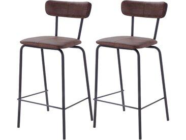 Chaise de bar vintage en cuir synthétique marron et pieds en métal noir 65 cm (lot de 2) - Lili