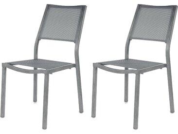 Chaise de jardin empilable grise en toile et métal (lot de 2) - Roma