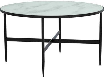 Table basse ronde en verre effet marbre et pieds en métal noir diamètre 80 cm - Alaska