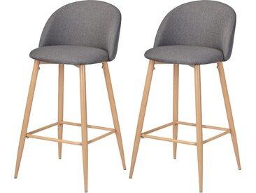 Chaise de bar scandinave en tissus gris et pieds en métal imitation bois 72.5 cm (lot de 2) - Cozy