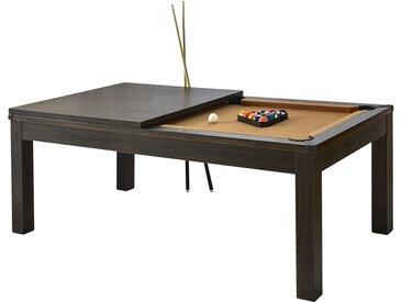 Table de Billard rectangulaire convertible bois foncé tapis beige 8 à 10 personnes