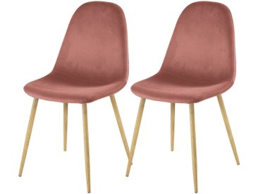 Chaise scandinave en velours rose (lot de 2) - Fredrik