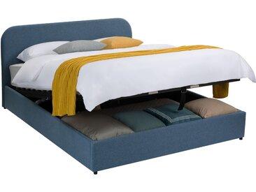 Ensemble sommier coffre relevable 24 lattes, tête de lit, cadre de lit en tissu bleu  140x190 cm - Tilly