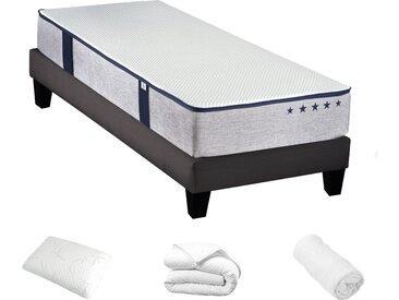 Ensemble prêt à dormir (matelas + sommier + oreiller + couette + protège matelas) 90x190 cm - Hades