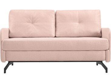 Canapé convertible 2 places rose clair en tissu et pieds en métal - Oscar