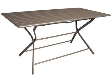 Table de jardin rectangulaire pliante en aluminium café 6 personnes - Globe