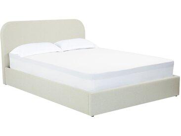 Ensemble sommier coffre relevable 26 lattes, tête de lit, cadre de lit en tissu beige  160x200 cm - Tilly