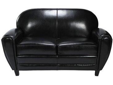 Canapé en croûte de cuir noir 2 places - Club