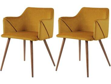 Chaise avec accoudoirs en velours jaune moutarde (lot de 2) - Daisy