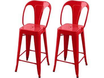 Soldes - Chaise de bar Indus rouge 66 cm (lot de 2)