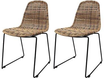 Chaise en résine tressée naturelle (lot de 2) pour l'intérieur et l'extérieur  - Chipie