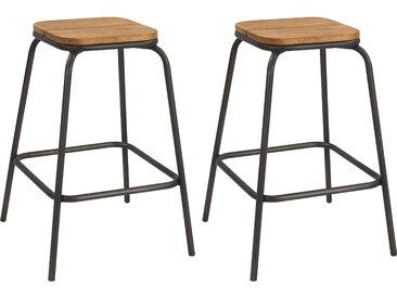 Tabourets de bar empilables en bois et pieds en métal 65 cm (lot de 2) - Bibine