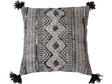 Housse de coussin ethnique en tissu noir et blanc avec pompons noirs - Ghurat