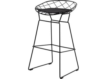 Chaise de bar avec repose pieds en métal et coussin noir 74 cm - Winnie