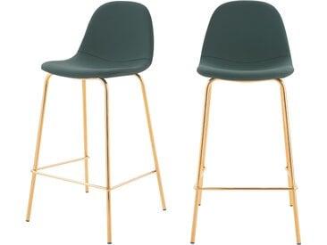Chaise de bar vintage en cuir synthétique vert et pieds en métal doré 65 cm (lot de 2) - Henrik