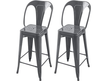 Chaise de bar Indus gris brillant 66 cm (lot de 2)