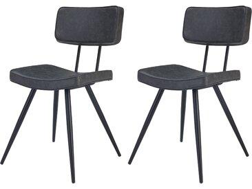 Chaise rembourrée noire en cuir synthétique (lot de 2) - Texas