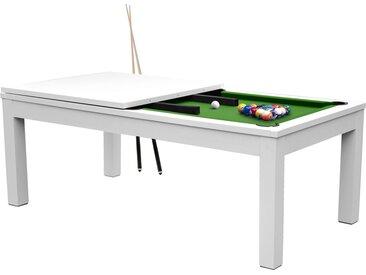 Table de Billard convertible blanche tapis vert 8 à 10 personnes