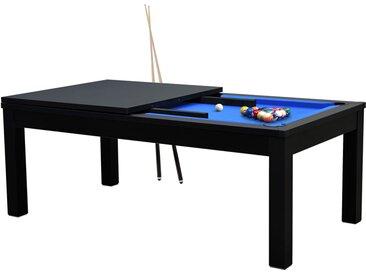Table de Billard rectangulaire convertible noire tapis bleu 8 à 10 personnes