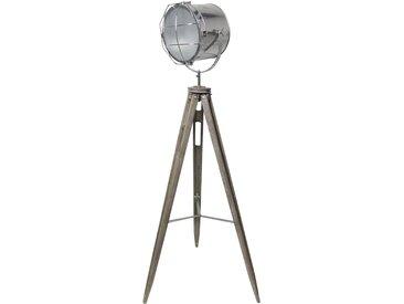 Lampadaire trépied industriel en bois vieilli et métal chromé - Projecteur