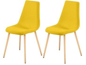 Chaise scandinave en tissu jaune (lot de 2) - Aleksi