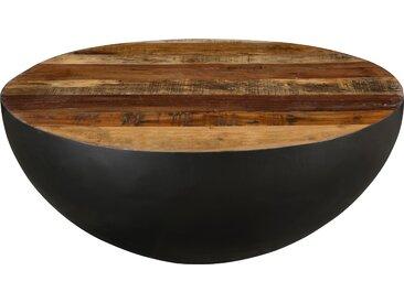 Table basse ronde en métal et bois recyclé (90 cm) - Nara