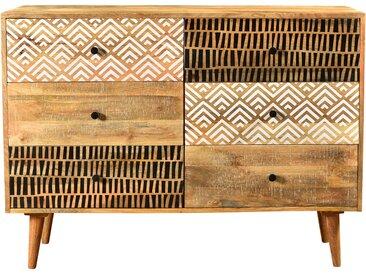 Commode ethnique en bois 6 tiroirs à motifs - Tali