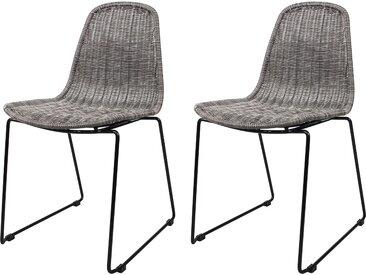 Chaise en résine tressée grise (lot de 2) pour l'intérieur et l'extérieur - Chipie