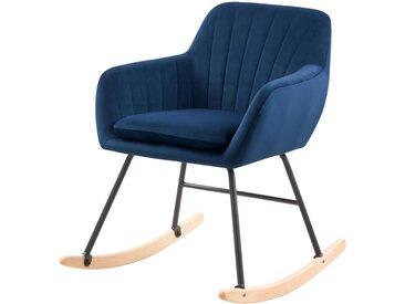 Rocking-chair en velours bleu et pieds en métal et bois - Isola